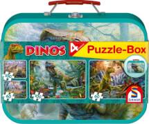 Schmidt Puzzle-Box im Metallkoffer 56495 Dinos, 2x60, 2x100 Teile, ab 5 Jahre