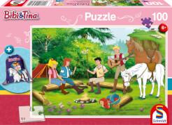 Schmidt Puzzle 56264 Bibi und Tina Puzzle mit Turnbeutel, 100 Teile, ab 6 Jahre